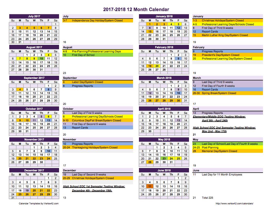 2018 school calendar template