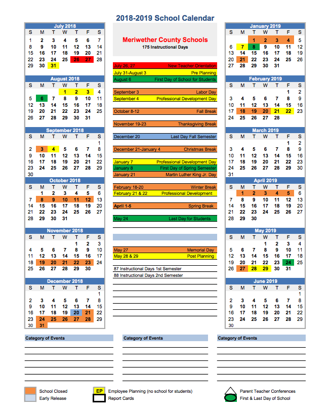 Marion County School Calendar 2016 2020 2018 – 2019 School Calendar – Meriwether County School System