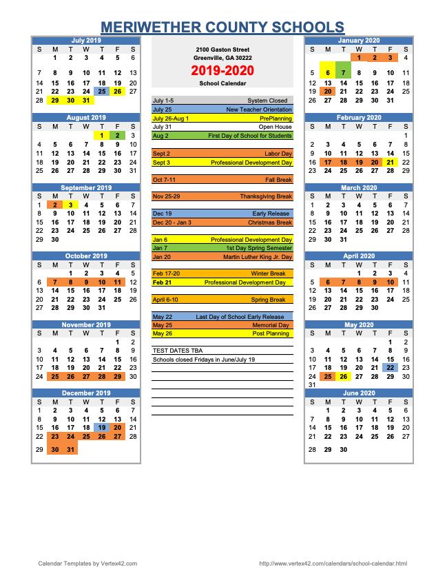 Gaston County Schools Calendar 2020 2019 – 2020 Approved School Calendar – Meriwether County School System