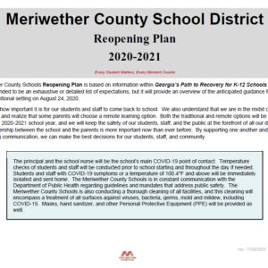 Meriwether County School District Reopening Plan 2020 – 2021