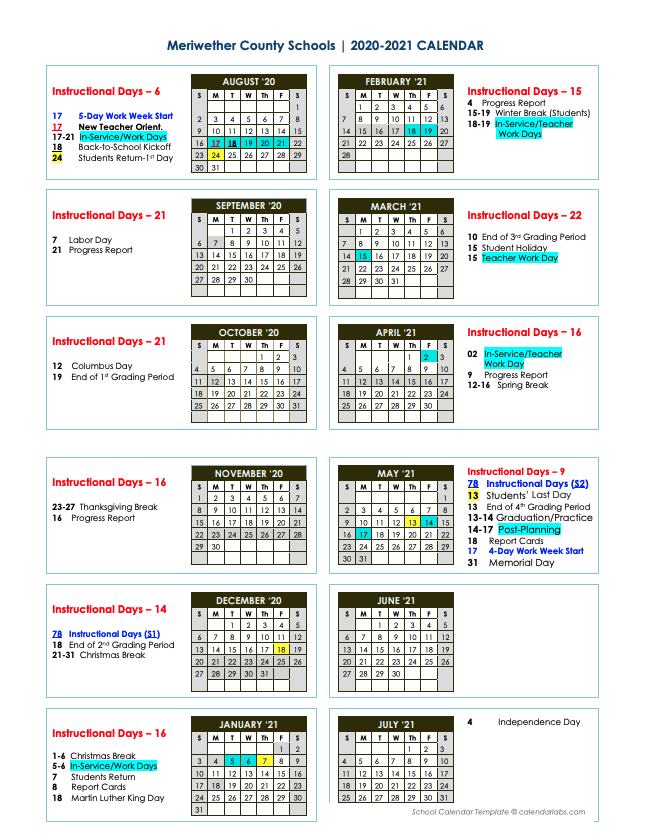 Troup County School System Calendar 2021-2022 Photos